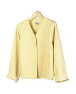 Our washable woven silk linen v-neck long sleeve jacket is unlined, short in length and wide chested so it has a relaxed fit. This jacket is luxurious because of its matte textured silk linen. It has a matching tank top, trousers and skirts, which can create beautiful outfits. Our silk linen jacket is perfect for the summer season. 21.5
