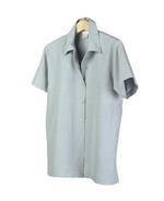 Our washable woven silk linen short sleeve camp shirt has a tunic length of 27.5