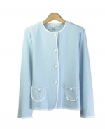 Our cotton/lycra fine knit jewel neck long sleeve cardigan is perfect for the spring and summer seasons. This high quality cardigan works well with many shells and bottoms. Hand wash to clean or dry clean for best results. 