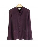 This 100% spun silk mandarin-collar jacket is comfortable, soft, and versatile. You'll want to wear this jacket for the entire transitional and fall seasons. This stylish and classic jacket can work beautifully with any of our silk sleeveless shells, t-shirts, and sweaters. Our jacket is perfect for dressing up as well as for dressing down. The jacket matches the sleeveless shell and pull-on pants in this design collection. Hand-wash or dry clean for best results.