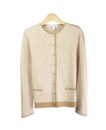 This jewel neck long sleeve cardigan is perfect for all occasions The mini-houndstooth jacquard gives you a sophisticated look. This crewneck cardigan is soft and comfortable and is easy to match. 3 beautiful colors available for this jacket: Black/Ivory, Brown/Taupe, and Camel/Ivory.
