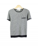 This jewel neck short sleeve sweater is perfect for all occasions The mini-houndstooth jacquard gives you a sophisticated look. This crewneck sweater is soft and comfortable and is easy to match. 3 beautiful colors available for this jacket: Black/Ivory, Brown/Taupe, and Camel/Ivory.