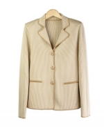 This notch collar long sleeve jacket is perfect for all occasions The mini-houndstooth jacquard gives you a sophisticated look. This jacket is soft and comfortable and is easy to match. 3 beautiful colors available for this jacket: Black/Ivory, Brown/Taupe, and Camel/Ivory.