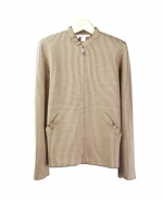 This ruffled jewel neck long sleeve jacket is perfect for all occasions The mini-houndstooth jacquard gives you a sophisticated look. This jacket is soft and comfortable and is easy to match. 3 beautiful colors available for this jacket: Black/Ivory, Brown/Taupe, and Camel/Ivory.