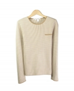 This jewel neck long sleeve sweater is perfect for all occasions The mini-houndstooth jacquard gives you a sophisticated look. This crewneck sweater is soft and comfortable and is easy to match. 2 beautiful colors available for this jacket: Brown/Taupe and Camel/Ivory.