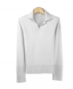 Our silk/cotton/cashmere johnny collar sweater is great for all occasions. This long sleeve sweater is easy-fit and clean shaped. Ultra soft and a comfortable, luxurious top for the fall and winter. Matches many jackets and pants easily. 