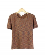 This jewel neck short sleeve sweater is made of 100% silk. The space dye is multi-colored so this pullover gives you a sophisticated and casual look. There are matching jackets, pants and a skirt for this category of items. This top is soft and comfortable, and is great for all occasions. 5 beautiful colors available for this jacket: Camel, Autumn, Cinnamon, Plum, Forest, and Black.
