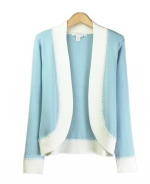 Our tussah silk/lycra full needle knit open neck jacket is a gorgeous jacket that works beautifully with our matching tussah silk shells and jackets. This top is a must-have. You'll love it for its' soft feel and luxurious look. Dry clean or hand wash for best results. 