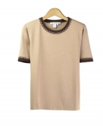 Our tussah silk/lycra jewel neck short sleeve sweater is a gorgeous top that works beautifully with our matching tussah silk jackets and bottoms. This top is a must-have. You'll love it for its' soft feel and luxurious look. Dry clean or hand wash for best results. 