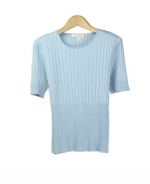 This silk/cotton/lycra jewel neck sweater is perfect for all occasions. The variegated rib design gives you a sophisticated look. This short sleeve, crew neck sweater is soft and comfortable and is easy to match with jackets and pants. 5 beautiful colors available: Black, Blue, Chocolate, Salmon, and Teal. 