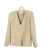 This luxe washable heavy weight 100% silk crepe V-neck full lined jacket with sild pockets is a little shaped.  A perfect fitted jacket, made of a luxurious silk crepe, for early fall and beyond.  This jacket has a lined vest to match as a set.  See pictures below. 