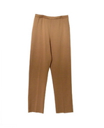 Silk cotton/lycra 14 gauge full needle knit pants.  Tightly knitted with good stretch.  Great for travel, work and leisure wear.  This fine gauge knit pants hold shape well and very comfortable to wear.  It is a full fashion knit (not cut-and-sew). Hand wash or dry clean for best results. 