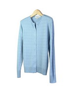 This women's silk cashmere jewel neck cardigan is beautifully made of 85% silk & 15% cashmere. This stylish top has a cable pattern front and back. It has a matching short sleeve sweater to make a beautiful set. This cable-patterned cardigan is easy-fit and extremely comfortable. Dry clean or handwash cold and lay flat to dry.