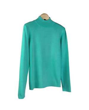 6a18a65525 Ladies  Silk Spandex Mock Neck Long Sleeve Sweater