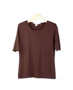 Viscose nylon 14 gauge full needle fine knit jewel neck short sleeve sweater pullover. This layering short sleeve knit top matches the knit cardigan jackets in this group. Handwash cold and lay flat to dry.  Or dry clean.
