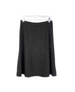 Wrinkle resistant high twisted silk lycra full fashion 8-panel knit skirt.  This 8-panel knit skirt drapes well.  The proper weight of the skirt is perfect for all year long wear. Two colors availabel, black and ruby.  The skirt matches the top SW11, a ruffle front cardigan, and SW16, ruffled V-neck knit blouse.  Dry clean for long lasting best result. Or, handwash cold and lay falt to dry. Then, steam or press the skirt with steam to achieve its silky look and good hand-feel.