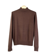 Women's silk cashmere fine knit mock neck long sleeve sweater in classic fit and shape. 85% silk, 15% cashmere.  Finely ribbed mock neck, cuffs and banded bottom.  An easy-to-match fall great sweater favored by our customers.  