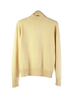 Our women's silk cashmere ribbed mock neck long sleeve flat knit sweater is made of 85% silk & 15% cashmore. This garment has finely ribbed cuffs and a ribbed bottom. This knit sweater has a young and sporty look - a fall must-have. Mid-hip length. Hand-wash in cold water & lay flat to dry. Pressing w/ steam will help maintain the softness of our silk cashmere top.