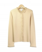 This viscose nylon jewel neck crop sleeve cardigan with lace trim is great for everyday wear.  Soft & comfortable and easy to match with jackets and bottoms.  Hand wash to clean, dry clean for best results.