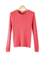 Ladies Silk/Cotton/Cashmere jewel neck sweater long sleeves in fine knit cable pattern. This silk cotton cashmere sweater is soft and stylish. Our finely knitted cable pattern holds the shape nicely and is never clingy. You will love this top for its classic style and luxurious look. Available in sizes S(6) to Plus Size 1X(16W-18W).