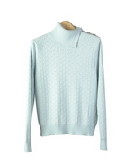 Silk Cotton Cashmere mock neck cable sweater in long sleeve has interesting side-button neck design. Picture shown in light blue is a medium cable pattern split mock neck long sleeve sweater top. This novelty knit mock turtle is stylish and comfortable to wear for the fall and winter seasons. Hand wash in cold water and lay flat to dry. Then steam the sweater to enhance the baby soft-touch. Or dry clean for long lasting care.