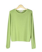 Silk/cotton/cashmere sweater pullover in relaxed bateau neck long sleeve style. It is a full sweater knit and look. It is our customers' favorite high quality sporty sweater pullover.  Soft-touch and easy-fit. It is a flattering shaped sweater.  Available in 9 beautiful bright and pastel colors. Hand wash in cold water and lay flat to dry. Steam the sweater to achieve its original softness of good hand-feel texture.
