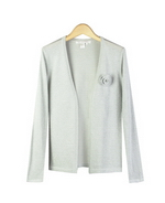 This women's silk lurex cardigan with open-front style is finely-knit and baby soft. It's matching hand-knit flower pin gives a beautifully delicate look. The lurex cardigan is easy-fit and easy-care. After washing our good-hand silk lurex cardigan, it comes out fresh as new. This silk lurex cardigan has several matching shells to make beautiful cardigan sets. The cardigan sets are our customers' favorite special occasion outfits. Mock neck sleeveless shell, scoop neck tank top, or jewel neck short sleeve sweater top in this silk lurex colletion can all mixed-and-matched with this stylish silk lurex cardigan.  