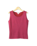 This women's silk lurex scoop neck sleeveless shell is finely-knit and baby soft. It is a fine 14 gauge tank top and it is easy-fit and easy-care. After washing our silk lurex tank top, it comes out fresh as new. This silk lurex sleeveless shell has a color-to-match cardigan to create a beautiful sweater set. Tt's a luxurious and useful layering tank shell for your sepecial occasions. 