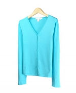 Our silk/lycra long sleeve flat v-neck cardigan is soft, comfortable and easy to match with jackets and bottoms. This item is made in 14 gauge flat knit. Hand wash or dry clean for best results. 