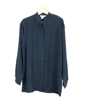 Washable 100 Silk Shirt Long Sleeve Mandarin Collar A Relaxed Fit