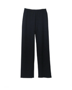 Viscose nylon full needle knit pants.  Great draping with nice stretch.  Good for travel, office and leisure wear.  Tightly knitted full needle full fashion knit.  Great for all occasions.  Easy to match with tops and jackets. Hand wash or dry clean for best results. 