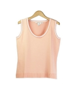 Our ladies' cotton/lycra scoop neck sleeveless shell has a delicate look and soft touch, which makes it a must have item for the spring and summer seasons.  This shell works beautifully with jackets and bottoms. Hand wash or dry clean for best results.