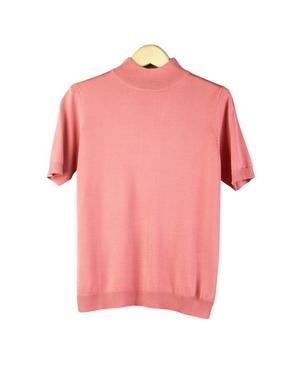 Womens Silk Mock Neck Short Sleeve Sweater W Narrow Banded Bottom