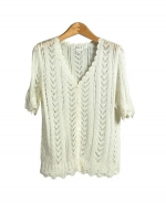Our women's rayon crochet cardigan sweater is an elegant sweater with its ruffled sweetheart neckline and crochet design.  This half sleeve sweater works perfectly with our rayon camisole tank (ND257).  This cardigan set is ideal for a summer outfit.