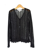 Our women's rayon ruffled sweetheart long sleeve crochet cardigan is an elegant sweater that works beautifully with our matching rayon camisole (ND257).  It is a light weight and beautiful piece that is perfect for the summer season.