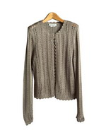 Women's Apparel: Rayon Crochet Jewel Neck Cardigan Sweater W/One Button Front