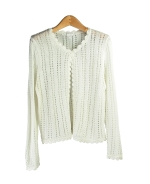 Our women's rayon crochet crew neck long sleeve cardigan is a delicate top with its elegant hand-crocheted lace trim and its front button style. Our cardigan matches our rayon camisole tank (ND257) beautifully. This is a beautiful cardigan for the summer season. 