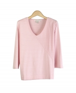 Composition's 100% tussah silk v-neck 3/4 sleeve sweater is simple yet elegant with its asymmetrical design. Our soft and comfortable top is great for all occasions and is a must-have for all seasons. Hand wash or dry clean for best results.