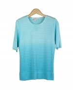 Viscose/Rayon jewel neck short sleeve sweater in dip-dye with shadow stripes. Easy to match with jackets and bottoms. Great for all occasions. Dry clean for best results. 