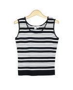 Viscose nylon striped knit sleeveless tank shell in scoop neck style.  Size S(6) to Plus size 1X(16W-18W). Four striped colors are available. Easy to match with jackets and bottoms. Great for all occasions. Hand wash or dry clean for best results.