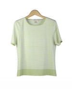 Silk nylon short sleeve jewel neck striped knit sweater top. Tightly knitted with good draping. Great for all occasions. Easy to match with jackets and bottoms. Hand wash or dry clean for best results. 