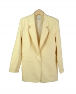 Our washable silk linen blazer is fully lined and includes pockets. Its' classic style, silky touch, and relaxed look makes it a perfect piece for the spring and summer seasons. Our silk linen blazer is luxurious because of its matte textured silk linen fabric. This blazer has a matching tank top, trousers, and skirts that can create beautiful outfits. Dry clean, or machine/hand-wash in cold water.