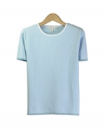 Our cotton/lycra fine knit jewel neck short sleeve sweater is perfect for the spring and summer seasons. This high quality sweater works well with many shells and jackets. Hand wash to clean or dry clean for best results. 