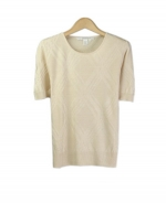 Our jewel neck short sleeve sweater is a luxurious top made from 100% silk. It is easy to match with jackets and bottoms. This pullover is perfect for all occasions. Hand wash or dry clean for best results.