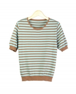 Our silk/cotton/cashmere jewel neck short sleeve striped sweater is great for all occasions. This crewneck sweater is easy-fit and clean shaped. Ultra soft and a comfortable, luxurious top for the fall and winter. Matches many jackets and pants easily. 