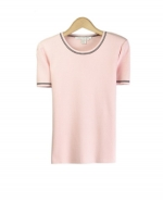 Our viscose nylon short sleeve flat knit jewel neck sweater is perfect for the spring season.  Soft & comfortable and easy to match with jackets and bottoms.  Hand wash to clean or dry clean for best results. 